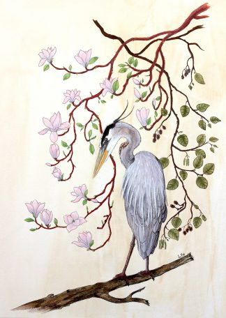 Héron bleu, illustration de Vanessa Lim