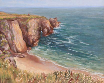 Face à la mer, peinture contemporaine d'un paysage par Vanessa Lim